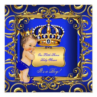 """Pequeña bebé trigueno azul del príncipe fiesta de invitación 5.25"""" x 5.25"""""""