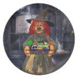 Pequeña bruja de los osos pequeños con las galleta platos