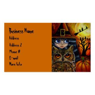 Pequeña bruja grande linda del ojo con el búho y tarjetas de visita