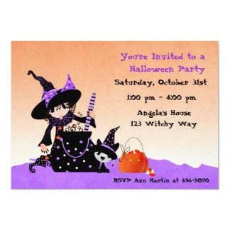 Pequeña bruja linda, Halloween Invitación 12,7 X 17,8 Cm