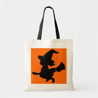 Pequeña bruja negra linda bolsas de mano