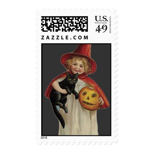 Pequeña bruja pasada de moda de Halloween y gato Sello