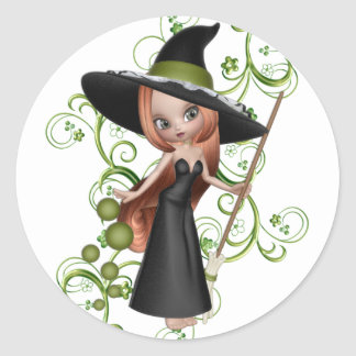 Pequeña bruja pelirroja con diseño verde de las pegatina redonda