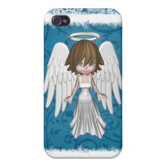Pequeña caja de la mota de los ángeles del navidad iPhone 4 funda