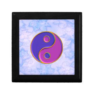Pequeña caja de regalo de la teja de Yin y de Yang Joyero Cuadrado Pequeño