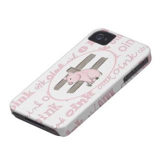 Pequeña caja rosada de Blackberry del cochinillo iPhone 4 Coberturas