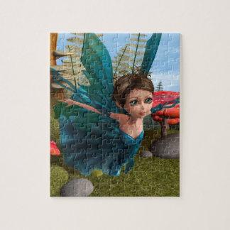 Pequeña camiseta de hadas de la mariposa que vuela rompecabezas con fotos