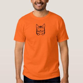 Pequeña camiseta feliz del gato de los hombres playera