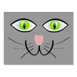 Pequeña cara gris del gato del gatito postales
