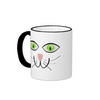 Pequeña cara gris del gato del gatito taza de café