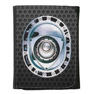 Pequeña cartera de cuero negra del motor rotatorio