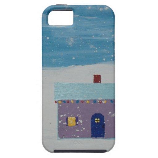 Pequeña casa del navidad iPhone 5 carcasas