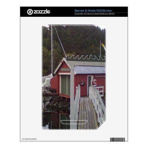 pequeña casa y mar calcomanías para el NOOK color