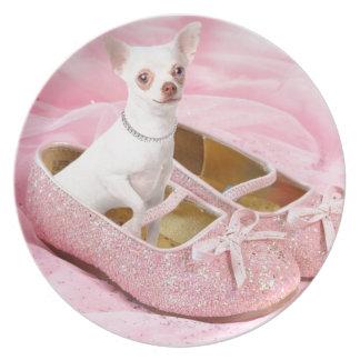 Pequeña chihuahua en zapatos femeninos rosados con plato