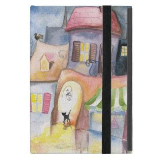 Pequeña ciudad en la noche iPad mini fundas