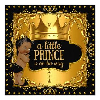 """Pequeña corona de la hoja de oro del príncipe invitación 5.25"""" x 5.25"""""""