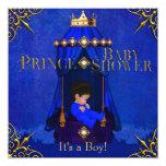 Pequeña corona del azul real del muchacho del invitación personalizada