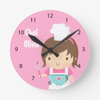 Pequeña decoración linda del sitio de los chicas reloj redondo mediano