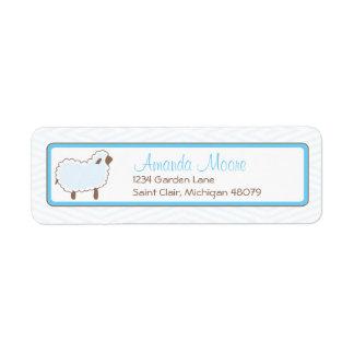 Pequeña etiqueta de dirección azul del cordero