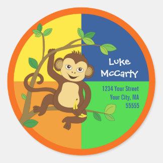 Pequeña etiqueta de dirección colorida del mono