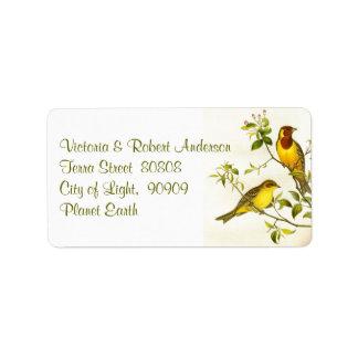 Pequeña etiqueta de dirección de los pájaros
