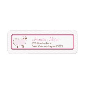 Pequeña etiqueta de dirección rosada del cordero