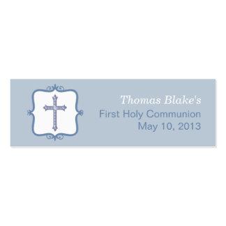Pequeña etiqueta de la comunión cruzada azul plantilla de tarjeta personal
