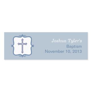 Pequeña etiqueta del bautismo cruzado azul plantilla de tarjeta de visita