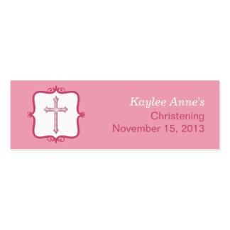 Pequeña etiqueta del bautismo cruzado rosado tarjeta de visita