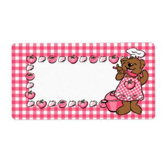 Pequeña etiqueta del cocinero del oso etiquetas de envío