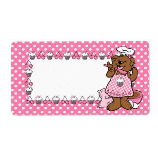 Pequeña etiqueta del panadero del oso etiquetas de envío