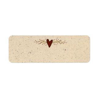 Pequeña etiqueta del producto del corazón etiqueta de remite