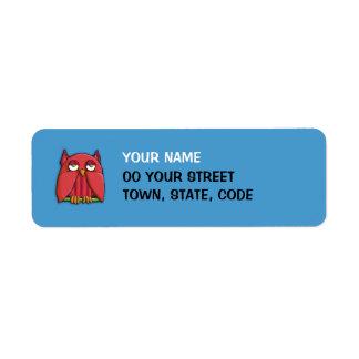 Pequeña etiqueta del remite de la aguamarina roja  etiquetas de remite