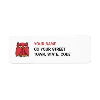 Pequeña etiqueta del remite del búho rojo etiqueta de remite