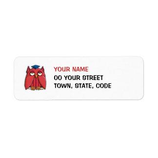 Pequeña etiqueta del remite del graduado rojo del  etiquetas de remite