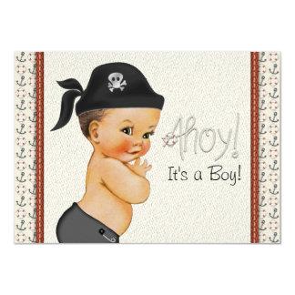 """Pequeña fiesta de bienvenida al bebé del pirata invitación 4.5"""" x 6.25"""""""