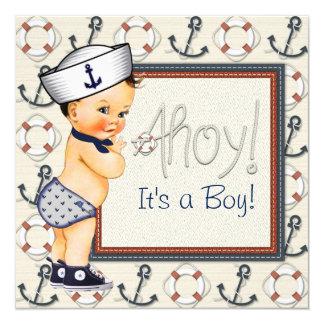 """Pequeña fiesta de bienvenida al bebé náutica del invitación 5.25"""" x 5.25"""""""