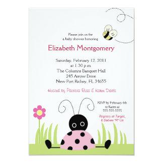 Pequeña fiesta de bienvenida al bebé (rosada) 5x7 invitacion personal