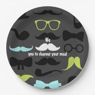 Pequeña fiesta de cumpleaños del bigote del platos de papel