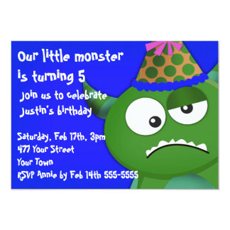 """Pequeña fiesta de cumpleaños del monstruo invitación 5"""" x 7"""""""