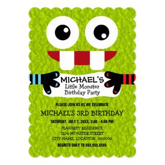 """Pequeña fiesta de cumpleaños linda del monstruo invitación 5"""" x 7"""""""