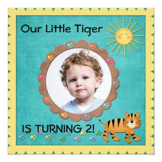 Pequeña fiesta de cumpleaños linda del tigre anuncio