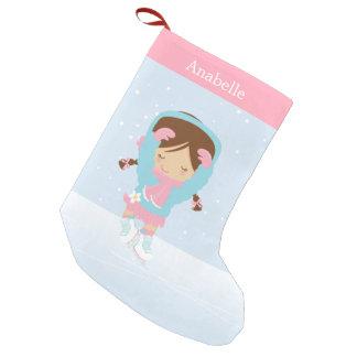 Pequeña figura patinador linda personalizado calcetín navideño pequeño