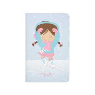 Pequeña figura patinador linda personalizado cuaderno