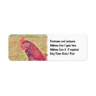 Pequeña gallina roja pintada etiqueta de remite