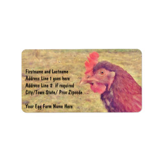 Pequeña gallina roja pintada etiquetas de dirección