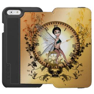 Pequeña hada linda del steampunk funda billetera para iPhone 6 watson
