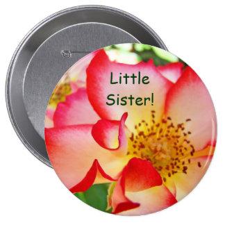 ¡Pequeña hermana! blanco rosado subió botones de Pin Redondo De 4 Pulgadas