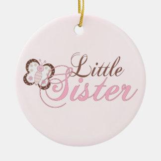 Pequeña hermana de la mariposa 2 rosados adorno navideño redondo de cerámica