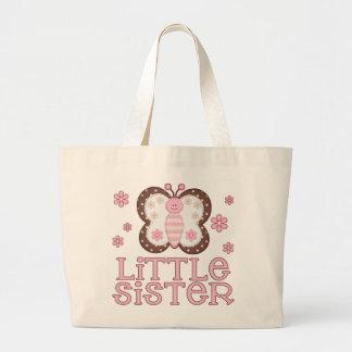 Pequeña hermana de la mariposa rosada bolsa tela grande